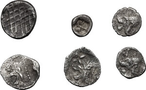 reverse: Greek World.. Lot of 6 unclassified small AR denominations of Asia Minor