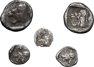 reverse: Greek World.. Lot of 5 unclassified AR small  denominations of Asia Minor