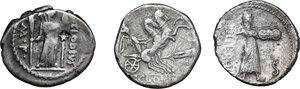 reverse: Roman Republic. Multiple lot of three (3) AR Denarii, one with an interesting countermarks
