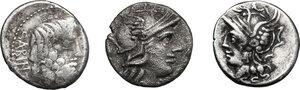 obverse: Roman Republic. Multiple lot of three (3) AR Denarii