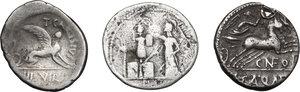 reverse: Roman Republic. Multiple lot of three (3) AR Denarii, one with an interesting countermark