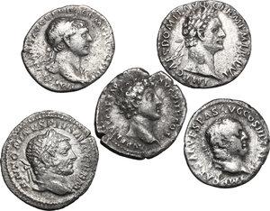 obverse: Roman Empire.. Lot of 5 unclassified AR denarii