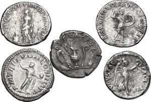 reverse: Roman Empire.. Lot of 5 unclassified AR denarii