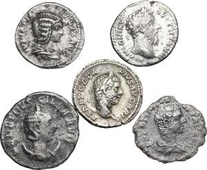 obverse: Roman Empire.. Lot of 4 AR Denarii and 1 AR Antoninianus, including: a probably fake Caracalla