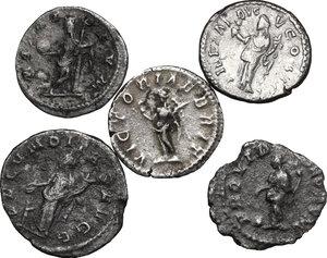 reverse: Roman Empire.. Lot of 4 AR Denarii and 1 AR Antoninianus, including: a probably fake Caracalla