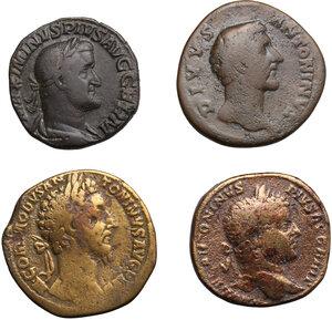 obverse: Roman Empire.. Lot of 4 AE Sestertii, including: Commodus, Maximinus I, Caracalla and Antoninus Pius