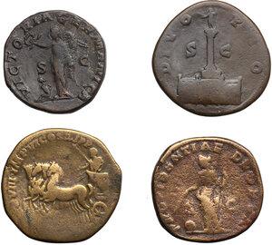 reverse: Roman Empire.. Lot of 4 AE Sestertii, including: Commodus, Maximinus I, Caracalla and Antoninus Pius