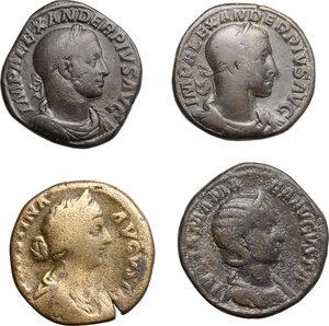 obverse: Roman Empire.. Lot of 4 AE Sestertii, including, Severus Alexander, Faustina II and Julia Mamaea