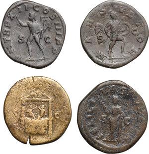 reverse: Roman Empire.. Lot of 4 AE Sestertii, including, Severus Alexander, Faustina II and Julia Mamaea