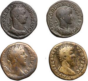 obverse: Roman Empire.. Lot of 4 AE Sestertii, including: Gordian III, Severus Alexander, Lucius Verus and Marcus Aurelius
