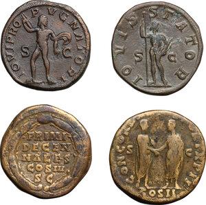 reverse: Roman Empire.. Lot of 4 AE Sestertii, including: Gordian III, Severus Alexander, Lucius Verus and Marcus Aurelius