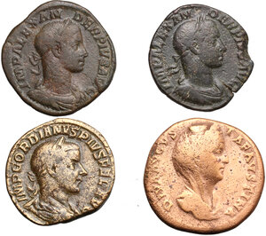 obverse: Roman Empire.. Lot of 4 AE Sestertii, including: Faustina I, Severus Alexander and Gordian III