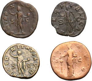 reverse: Roman Empire.. Lot of 4 AE Sestertii, including: Faustina I, Severus Alexander and Gordian III