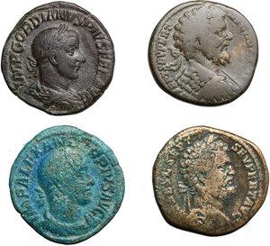 obverse: Roman Empire.. Lot of 4 AE Sestertii, including: Severus Alexander, Septimius Severus and Gordian III