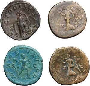 reverse: Roman Empire.. Lot of 4 AE Sestertii, including: Severus Alexander, Septimius Severus and Gordian III