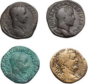 obverse: Roman Empire.. Lot of 4 AE Sestertii, including: Septimius Severus, Severus Alexander and Gordian III