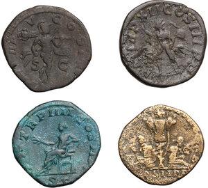 reverse: Roman Empire.. Lot of 4 AE Sestertii, including: Septimius Severus, Severus Alexander and Gordian III