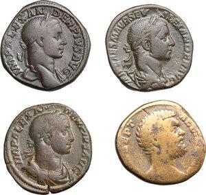 obverse: Roman Empire.. Lot of 4 AE Sestertii, including: Severus Alexander and Clodius Albinus