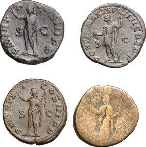 reverse: Roman Empire.. Lot of 4 AE Sestertii, including: Severus Alexander and Clodius Albinus