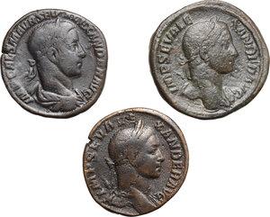 obverse: Roman Empire.. Lot of 3 AE Sestertii of Severus Alexander