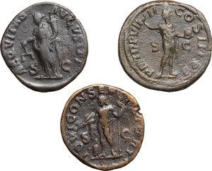 reverse: Roman Empire.. Lot of 3 AE Sestertii of Severus Alexander