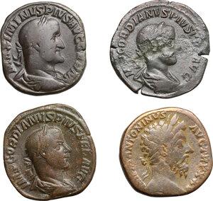obverse: Roman Empire.. Lot of 4 AE Sestertii, including: Marcus Aurelius, Gordian III and Maximinus I