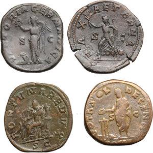 reverse: Roman Empire.. Lot of 4 AE Sestertii, including: Marcus Aurelius, Gordian III and Maximinus I