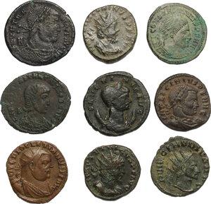 obverse: The Roman Empire.. Multiple lot of 5 BI Antoniniani and 4 AE denominations, including: Severina, Claudius Gothicus, Diocletian, Tetricus, Victorinus, Vetranius, Constantius, Licinius and Constantine
