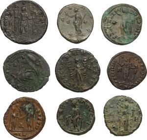reverse: The Roman Empire.. Multiple lot of 5 BI Antoniniani and 4 AE denominations, including: Severina, Claudius Gothicus, Diocletian, Tetricus, Victorinus, Vetranius, Constantius, Licinius and Constantine