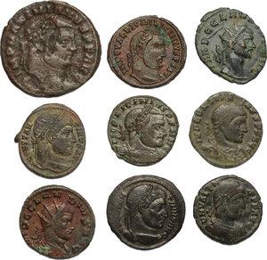 obverse: The Roman Empire.. Multiple lot of 9 AE denominations, including: Constantine, Licinius, Maximianus, Valens and Claudius Gothicus