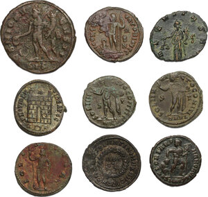 reverse: The Roman Empire.. Multiple lot of 9 AE denominations, including: Constantine, Licinius, Maximianus, Valens and Claudius Gothicus