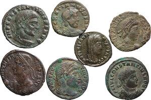 obverse: The Roman Empire.. Multiple lot of 7 AE denominations, including: Gratian, Constantine I, Constantius II, Constans I and Valens