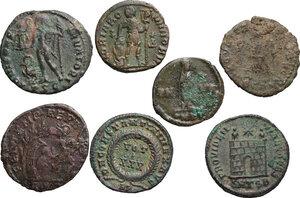 reverse: The Roman Empire.. Multiple lot of 7 AE denominations, including: Gratian, Constantine I, Constantius II, Constans I and Valens