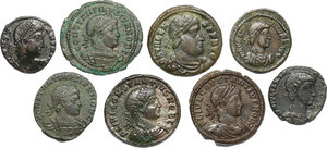 obverse: The Roman Empire.. Multiple lot of 8 AE denominations, including: Constantine I, Valens and Constantius II