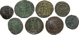 reverse: The Roman Empire.. Multiple lot of 8 AE denominations, including: Constantine I, Valens and Constantius II