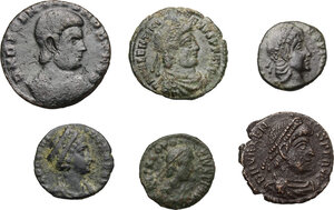 obverse: Roman Empire.. Multiple lot of six (6) AE coins, 4th century