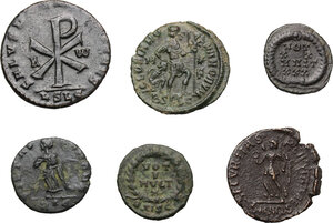 reverse: Roman Empire.. Multiple lot of six (6) AE coins, 4th century