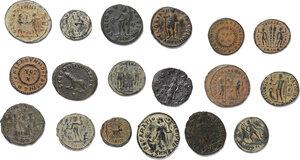 reverse: Roman Empire.. Lot of 18 unclassified late Roman AE denominations