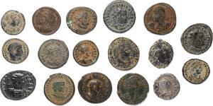 obverse: Roman Empire.. Lot of 16 unclassified late Roman AE denominations and 1 AR Denarius of Julia Domna