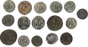 reverse: Roman Empire.. Lot of 15 unclassified AE Denominations and 1 AR Denarius of Trajan