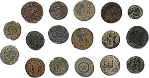reverse: Roman Empire.. Lot of 17 unclassified late Roman AE denominations