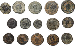obverse: Roman Empire.. Lot of 15 unclassified late Roman AE denominations