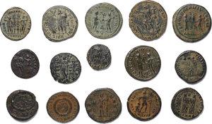 reverse: Roman Empire.. Lot of 15 unclassified late Roman AE denominations