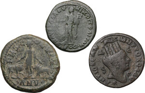 reverse: Roman Empire.. Multiple lot of three (3) AE provincial coins