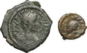obverse: Byzantine Empire.. Multiple lot of 2 AE denominations, including: 16 Nummi, Thessalonica mint