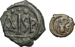 reverse: Byzantine Empire.. Multiple lot of 2 AE denominations, including: 16 Nummi, Thessalonica mint