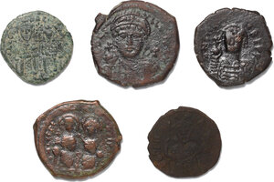 obverse: Byzantine Empire.. Lot of 5 unclassified AE Folles