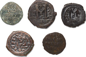 reverse: Byzantine Empire.. Lot of 5 unclassified AE Folles