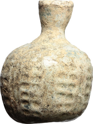 reverse: Late roman glass bottle, blown into a mould.  With white patina.  5th-6th century AD.  H. 6,5 cm