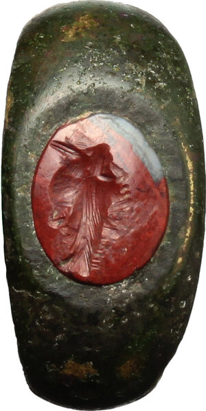 reverse: Bronze ring with carnelian intaglio engraved with